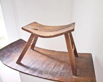 Antique Wood Stool / Folk Art Bench / Milking Stool / Display Farmhouse Bench