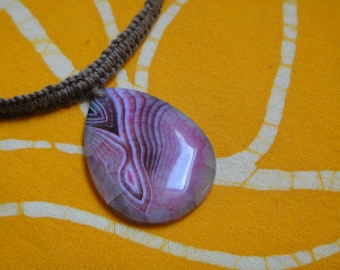 Agate Teardrop Hemp Necklace Hippie Festival Statement Jewelry Purple Pink Girls Gift
