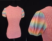 RESERVED Rainbow Puffsleeved Vintage 1980's Women's Pink Stretchy Sweater Shirt S M