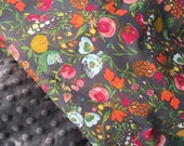 Baby Girl Blanket, Gray Floral Print Minky Blanket, Flower Crib Bedding, Stroller Blanket, Bari J Emmy Grace Fabric,  Made to Order