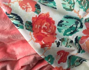 Baby Girl Blanket, Floral Baby Blanket, Flower Minky Blanket, Coral Baby Blanket, Stroller Blanket, Modern Floral Baby Girl