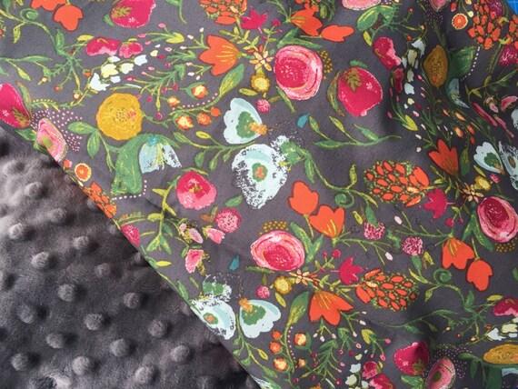 Baby Girl Blanket Gray Floral Print Minky By Preciousandpink