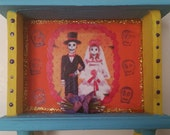 Sale // Day of the Dead couple / Dia de los Muertos Mini Altar Shrine