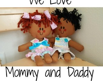 """Brown Baby Rag Dolls called We Love Mommy And Daddy 12"""" handmade cloth dolls"""