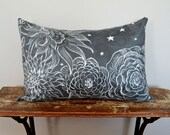 Starry Night Gray and White Pillow , Floral Pillow Cover, 14x20 Lumbar Pillow, Scratchboard Art on Faux Suede, Decorative Pillow, Grey Decor