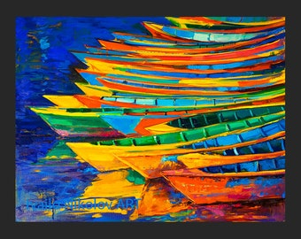 Modern artwork Boats3 26x20in Seascape Painting Original Art Impressionistic OIl on Canvas by Ivailo Nikolov