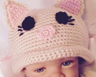 Kitten Hat, Kitty Hat, Baby Kitty Hat, Baby Hat, Baby Kitten Hat, Haloween Kitten Hat, Baby Hat