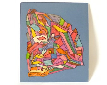 Vintage Abstract Modern Work on Paper ... Marker Art, MCM Stained Glass Drawing, Philip L. Jung, Original Modern Art, Shapes, Rainbow