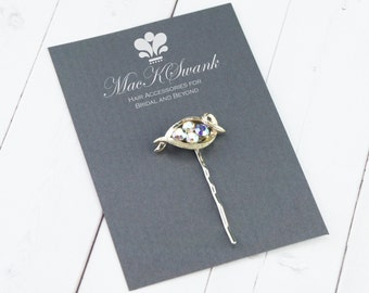 Vintage AB Rhinestone Bobby Pin - Silver Crystal Bobby Pin - Unique Gifts for Women - Christmas Presents - Bridal Bobby Pin