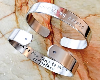 You're My Person, Bridal Party, Wedding, Personalized Hand Stamped Bracelet - Your Name, Quote, Custom Hand Stamped Bracelet, Maid of Honor