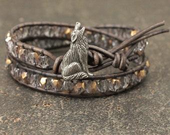 Unique Wolf Jewelry Bronze Gray Silver Wolf Bracelet