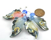 4 Butterfly Wing Beads Sampler Set : Lampwork
