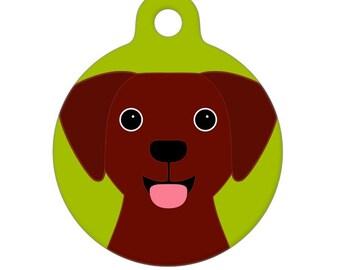 Pet ID Tag - Chocolate Lab Pet Tag, Dog Tag