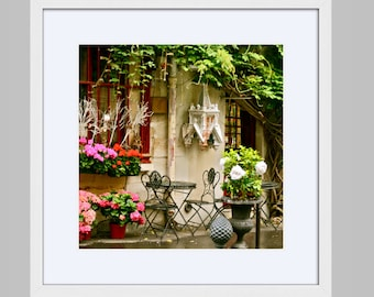 Framed Paris Print - Romantic French Decor - Valentines Day Gift - Ready to Hang Wall Art - Colorful Photography - Cafe Photo - Square Art