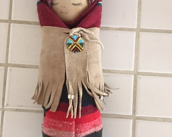 American Indian Folk Art Papoose Doll Beads Leather Blanket by Carollyn of Taos