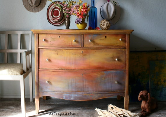Summer Sunsets - #3 in my Series Gorgeous Dresser Hand Painted Boho Design