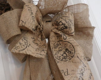 Christmas dream  French Grain sack Burlap Bow Mantel - Christmas Tree Topper Burlap Extra Large Hand tied Bow