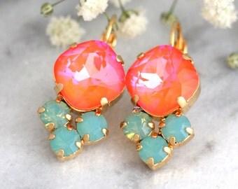 Tangerine Earrings, Coral Mint Earrings, Persimmon Earrings, Swarovski Earrings, Tangerine Drop Earrings, Bridal Earrings, Gift For Her