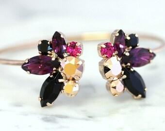Raspberry Bridal Bracelet,Swarovski Crystal Bracelet,Rose Gold Bracelet,Bridal Cuff,Bridesmaids Jewelry,Cuff Bracelet,Open cuff Bracelet