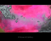 LARGE Abstract Painting, Original Acrylic, Silver Leaf, Pink Fuchsia, Metallic Gold Glitter Painting, Contemporary Modern Art Canvas 24 x 48
