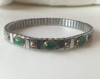 REDUCED Vintage Silver & Green 90's Watchband Bracelet