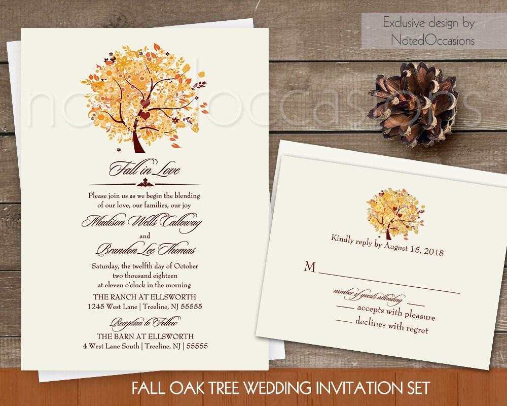 Fall Wedding Invitation Wording: Rustic Fall Wedding Invitation Set Printable Autumn Oak Tree