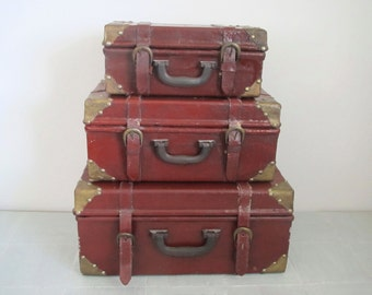 vintage luggage set/ suitcase set of three/ brass accent/ compact stacking set