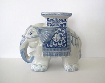 Vintage ceramic elephant/ blue & white elephant stool/ plant stand/ Asian/ boho decor
