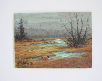 Vintage original painting/ small painting/ landscape/ 5 x 7
