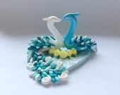 Wedding cake topper in turquoise, white and lemon handmade from polymer clay