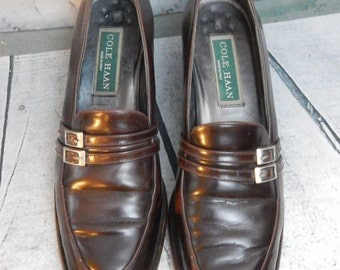 Authentic Vintage COLE HAAN ~Dark Brown Leather Loafers~ Made in ITALY ~Size 7.5 Narrow