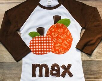 Pumpkin Shirt, Fall Shirt for Boys- Pumpkin Applique Shirt -  You Choose Shirt Color and Sleeve Length