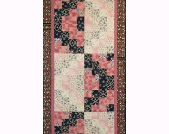 Pathways Table Runner, 5006-0, pink and black Table Runner, Pieced Table Runner,  quilted table topper, quilted table decoration, bed runner