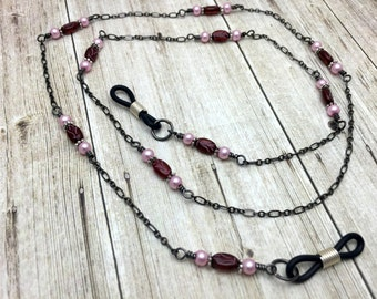 Pink Beaded Eyeglass Chain Lanyard-  Eyeglass Leash- Gifts for Her- Glasses Necklace Holder Jewelry