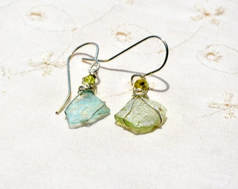 Two Tone Roman Glass Earrings. Small Roman Glass Silver Earrings with Peridot Beads. Roman Glass Jewelry. Silver Jewelry.  Israeli Jewelry