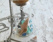 Ocean Seahorse Mini Underwater Bottle Sea Shells Sea Glass Sand Crystals Silver tone jewelry necklace