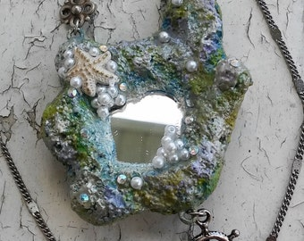 Nautical Mermaid Mirror Polymer Clay Hand Painted Silver Tone Jewelry Necklace