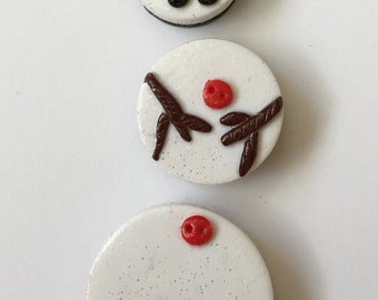 Magnets Snowman Handmade Polymer Glitter White Clay magnets   ( 3 )