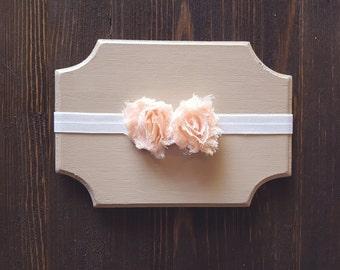 Girls Peach Headband, Newborn Headband, Peach Flower Headband, Baby Headband, Shabby Chic Flower Headband, Photography Prop