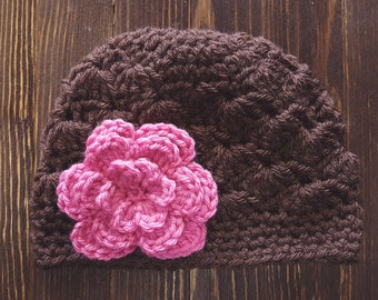Girls Hat, Brown and Pink Girl Hat, Newborn Girl Hat, Crochet Baby Hat, Crochet Girls Hat, Baby Girl Hat, Baby Hat for Girls