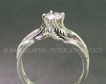 14k Gold Solitaire Moissanite Engagement Wedding Ring set.
