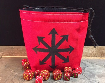Chaos Star Dice Bag in Red