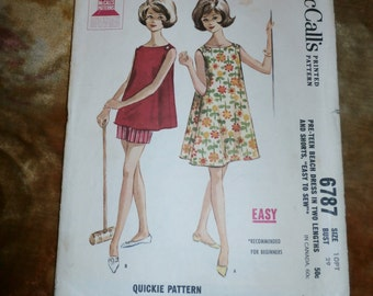 Vintage 1963 McCall's Pattern 6787 for Pre-Teen Beach Dress and Shorts, Size 10 PT, Bust 29