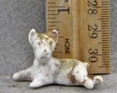 Vintage Antique Excavated  German Porcelain Miniature Dog For Doll Making Altered Art