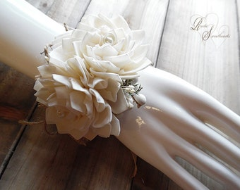 Will ship in 4 weeks ~~~ Wrist Corsage, Sola Flowers, Rustic Country Wedding, Corsage.