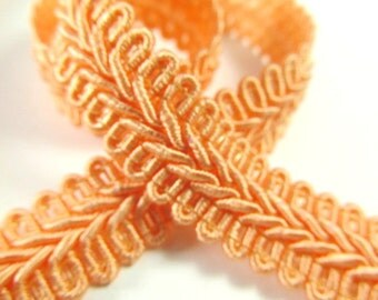 Coral Peach 1/2 inch or 13mm Romanesque Flat Gimp Trim sold by the yard