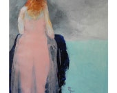 "Girl portrait  pink, indigo blue, aqua, orange and grey red head girl art ""Ginger Mae"""