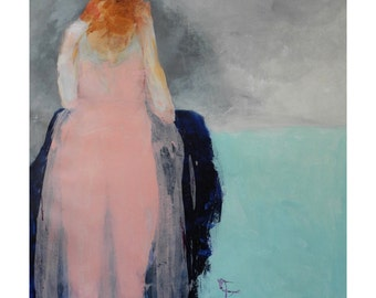 """Figure wall art/etsy abstract girl portrait in pink/red head girl art print/figurative art print """"Ginger Mae"""""""