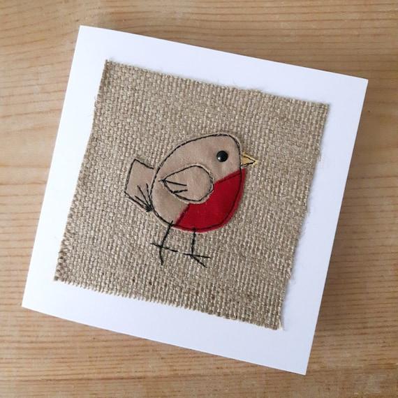 Applique robin christmas textile card rustic
