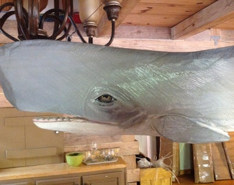 "Sperm Whale Mobile 54"" long chainsaw wood carving 3D hand made sculpture coastal living decor maritime two sided hanging whale sign"